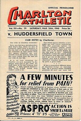 Charlton Athletic v Huddersfield Town 1947/8 - Football Programme