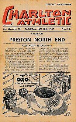 Charlton Athletic v Preston North End 1946/7 - Football Programme