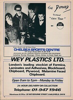 Chelsea v Wolves 1976 football programme with THE DAMNED New Rose advert