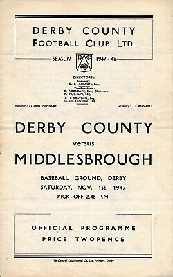 Derby County v Middlesbrough 1947/8 - Football Programme