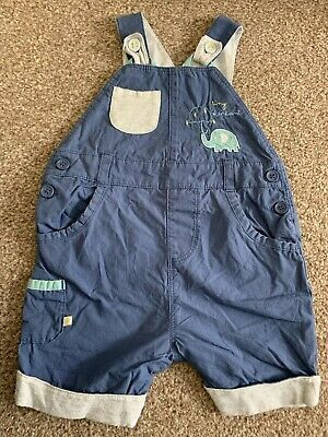 Baby Boys Mothercare 6-9 Months Blue Cotton Dungaree Shorts