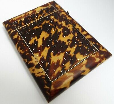 SUPERB CLEAN ENGLISH ANTIQUE c.1870 FAUX BLOND TORTOISESHELL & SILVER CARD CASE