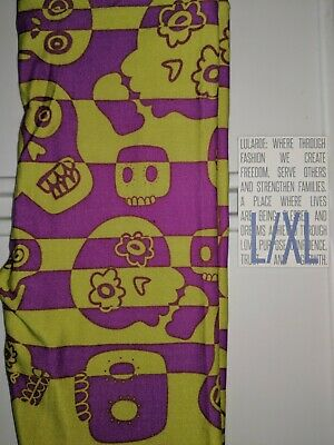 LuLaRoe kids L/XL Halloween leggings 8-12 NWOT Large XLarge green purple skulls