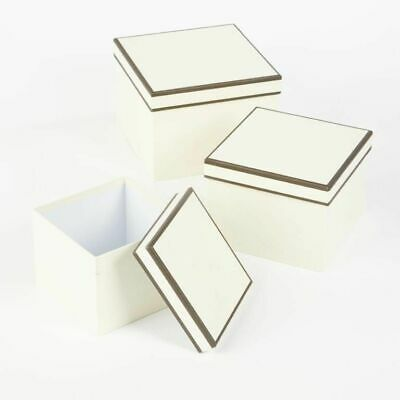 SET OF 3 SQUARE OASIS COUTURE LINED HAT BOXES CREAM Flowers Gifts Crafts storage