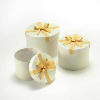 SET OF 3 ROUND OASIS STEPHY LINED HAT BOXES GOLD BOW Flowers Gifts Crafts