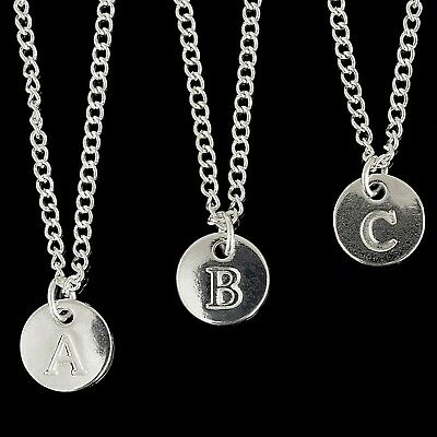 "Personalised Silver Plated Initial Letter 18"" Necklace Pendant Disc A to Z"