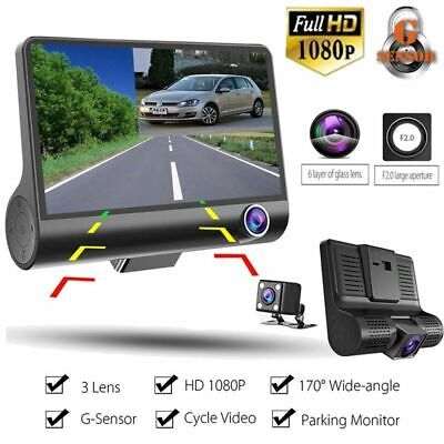 Car DVR Dash Cam 3 Camera Lens Video Recorder 1080P Full HD 4'' Camcorder 2019
