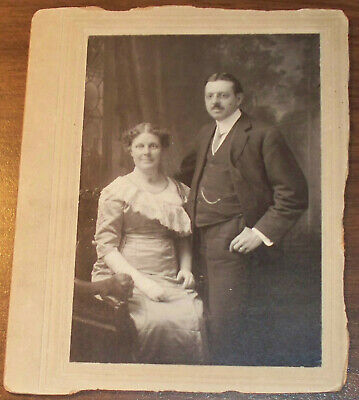 Antique Mounted photo Prim Proper Woman Man ID'ed Nellie & Henry Chandler ~ 0106