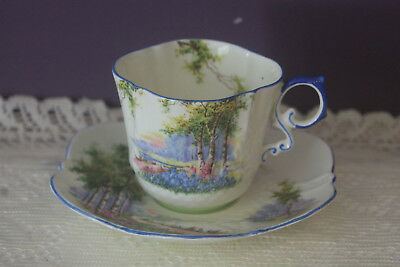Beautiful Aynsley 'Bluebell Time' Tea Cup And Saucer B2044