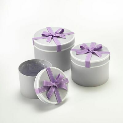 SET OF 3 ROUND OASIS STEPHY LINED HAT BOXES LILAC BOW Flowers Gifts Crafts