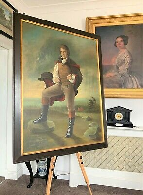 HUGE SUPERB 18thc STYLE COUNTRY SQUIRE OIL PORTRAIT LANDSCAPE PAINTING