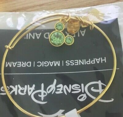 New ALEX & ANI Disney Parks Mickey Mouse August Green Birthstone Gold