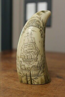 Ship Mercury Capt. Daniel Jordan Green Port 1862 Scrimshaw Carving Replica ?