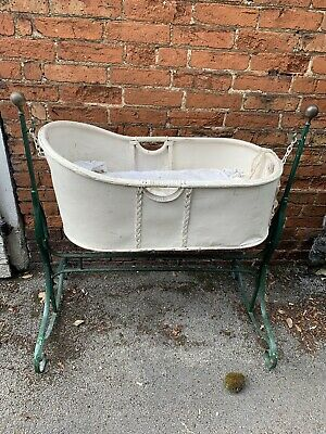 Antique Vintage Rocking Crib Cot