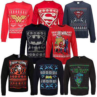 Dc Christmas Sweater.Adults Dc Comics Superhero Theme Christmas Jumpers New Festive Xmas Sweater Top