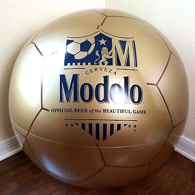 "Modelo Beer XL Soccer Ball Inflatable GOLD Cerveza 2' / 24"" Beautiful Game NEW"