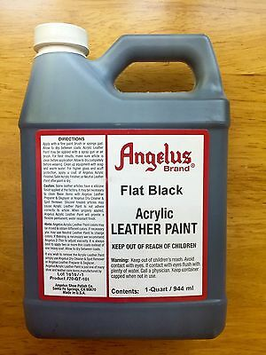 Angelus FLAT BLACK acrylic leather paint in 32oz/1-quart