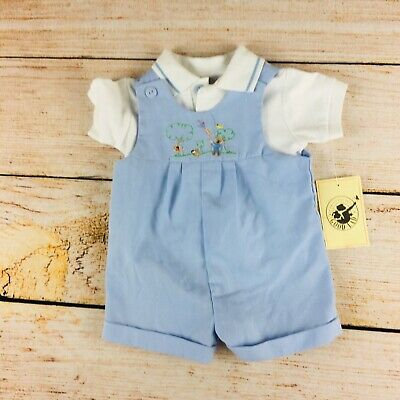 U19 Good lad Boys Blue 3-6 months embroidered overall shortall NEW