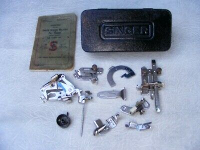 Vintage Singer Sewing Machine Accessories with Black Tin Box and Manual
