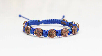 St. Benedict Bronze Color Metal Medal on Blue Cord Bracelet Saint Benedict