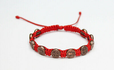 St. Benedict Bronze Color Metal Medal on Red Cord Bracelet Saint Benedict