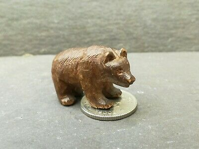 Antique Carved Wooden Miniature Black Forest Bear Wood Dolls House Swiss Toy