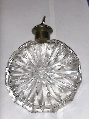 Pretty Vintage Cut Glass, Crystal Mini Perfume Bottle Round Pendant?