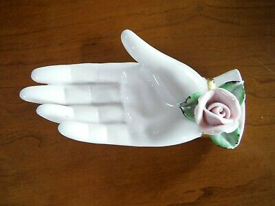 Antique Porcelain Woman's Hand Trinket Tray - Made In Japan - Mint