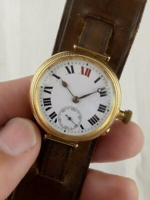 Vintage 1919 WW1 TRENCH WATCH. 18K SOLID GOLD BORGEL CASE  'LONGINES' cal 12.92
