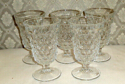 Fostoria American 2056 Low Water Goblets 7 Oz. Clear Lot of 5