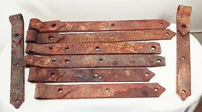 Vtg antique cast wrought iron hand forged barn door gate straps hinges 8 pcs