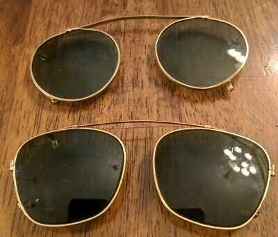 Vintage American Optical Aviator Sunglasses Clip On & 2nd pair Green Clip-on