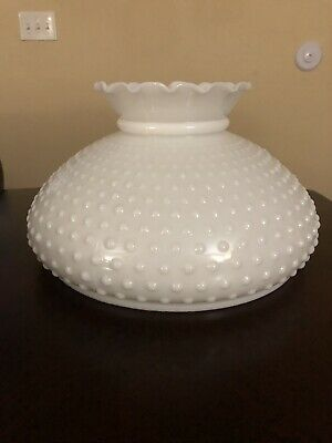 "10"" Hobnail Milk Glass Top Lamp Shade White Floral Top"