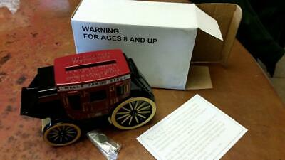 Wells Fargo Die Cast Metal Stagecoach Bank NEW with Box and Key