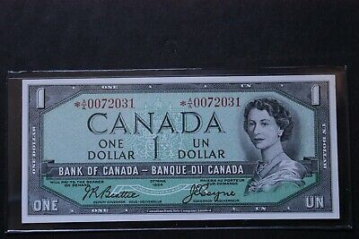 BC-37aA 1954 *AA STAR REPLACEMENT NOTE CANADA $1 ONE DOLLAR LOWER SERIAL