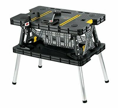 Keter Folding Compact Workbench Sawhorse Work Table with Clamps 1000Lb Capacity