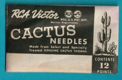 RCA Victor 12 CACTUS NEEDLES AND SHARPENER FOR PHONOGRAPH OLD NEW STOCK