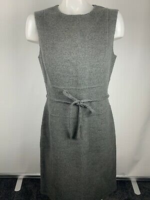 BADGLEY MISCHKA Womens Sz 8 Gray Sleeveless Sheath Dress Wool Angora Belt