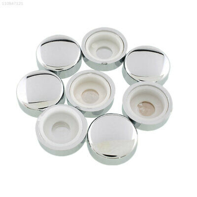 05E7 8pcs White Chrome Fasteners Caps License Plate Tag Frame Screw Nut Covers