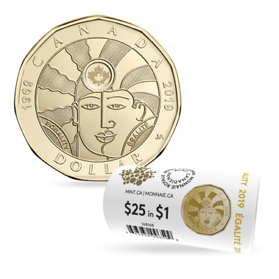 2019 Canada EQUALITY LOONIE DOLLAR $1 -- from roll -- in stock!!