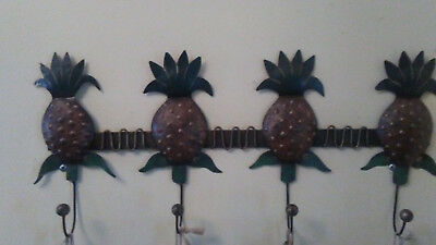 pineapple wall hanging hand crafted and painted 4 hooks decorator item