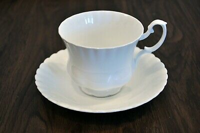 Royal Albert Bone China Reverie Coffee/Tea Cup (Footed) & Saucer - White Fluted