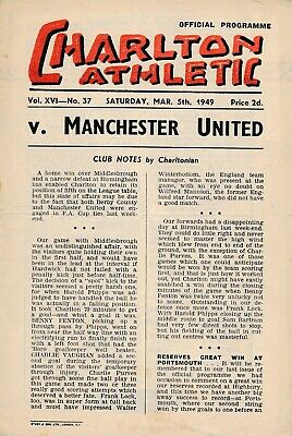 CHARLTON v Manchester United 1948/9 - Football Programme