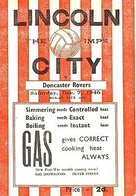 LINCOLN CITY v Doncaster Rovers 1946/7 - Football Programme