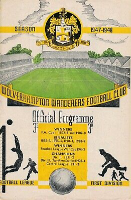 WOLVES v Derby County 1947/8 - Football Programme