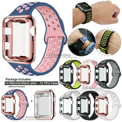 Soft Silicone Sports Strap+Screen Protector Cover for Apple Watch Band 4 3 2 1
