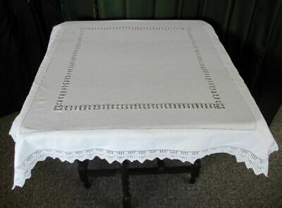 Antique Tablecloth-Hand Crochet Edge+Drawn Thread Work Decoration