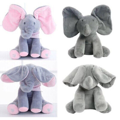 Peek-a-boo Singing Elephant Music Doll Plush Toy Stuffed Toys Kids Gift UK