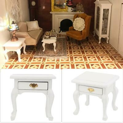 1/12Doll House Wood Furniture Miniature Vintage White Bedside Table Nightstand❤o