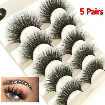 5 Pair False Eyelashes 3D Mink Wispy Cross Long Thick Soft Fake Eye Lashes New💙